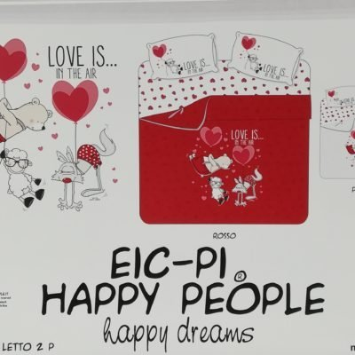 via roma 60 maè eic-pi happy people lenzuolo completo letto LOVE IS IN THE AIR double face matrimoniale singolo una piazza e mezza made in italy 100% puro cotne percalle