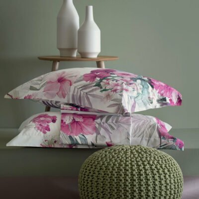 Svad Dondi home collection lenzuolo completo letto 100% cotone percalle made in Italy stampa digitale HIBISCUS matrimoniale